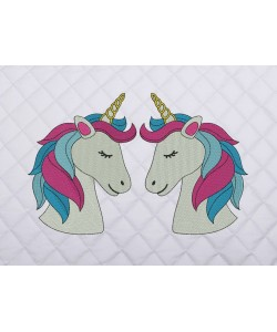 two unicorn embroidery