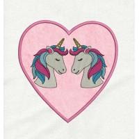 two unicorn heart applique