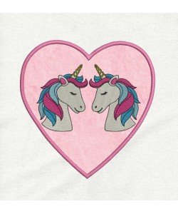 two unicorn heart applique