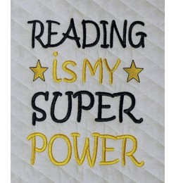 Reading is My Super power embroidery design