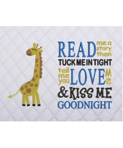 giraffe embroidery with read me a story