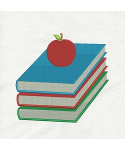 books and apple embroidery