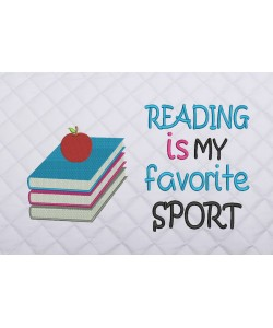 books and apple with reading is my favorite sport