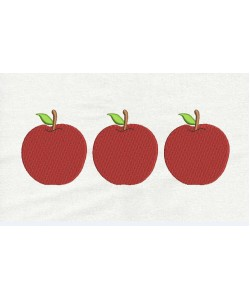 Three apples embroidery