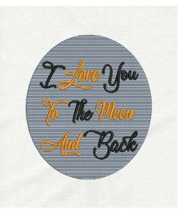 I Love You and Moon embroidery