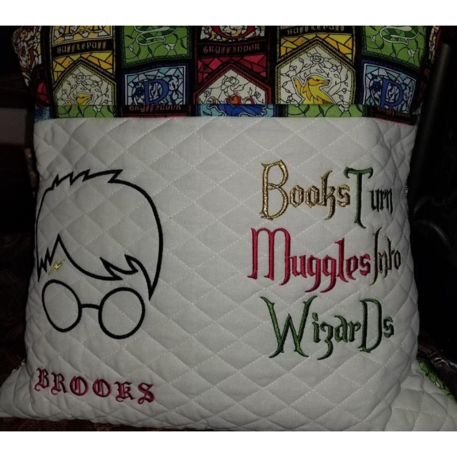 Harry Potter Face Applique Books Turn reading pillow