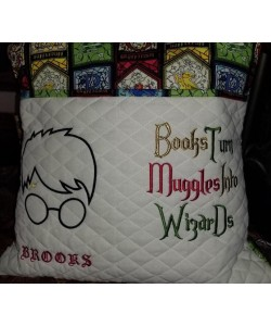Harry Potter Face Applique Books Turn reading pillow
