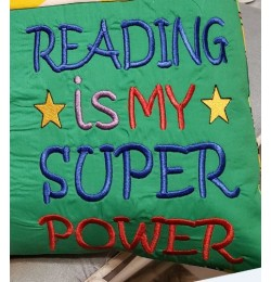 Reading is My Super power design embroidery
