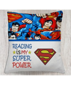 Superman logo embroidery with Reading is My Super power