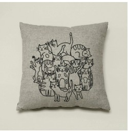 cats line embroidery