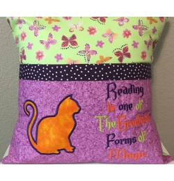 Cat Applique with Reading is one