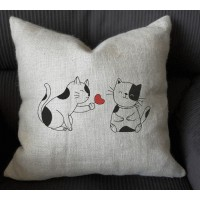 cat couple valentine embroidery