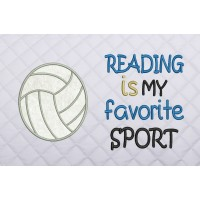 volleyball applique with reading is my favorite sport