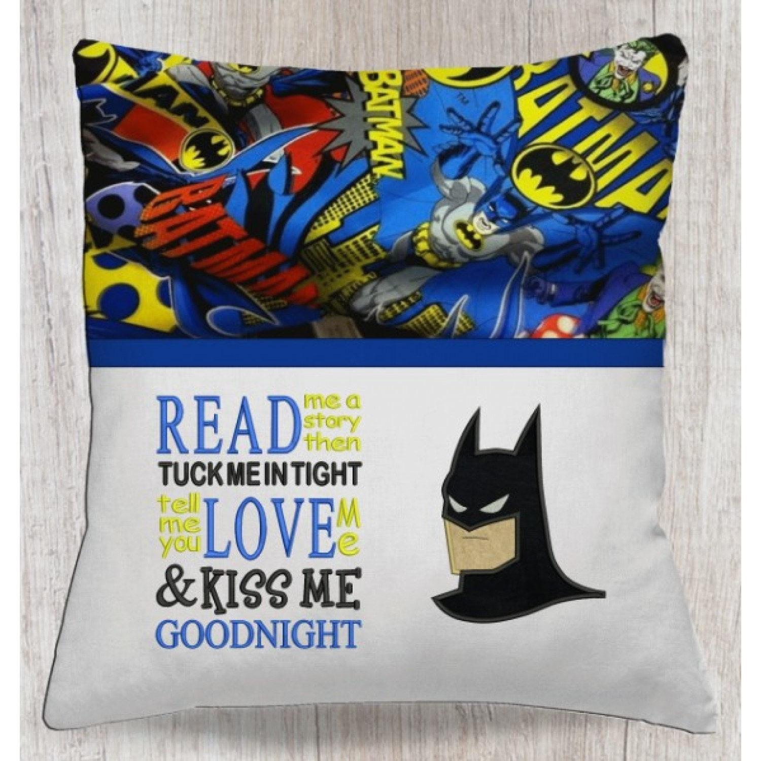 batman face with read me a story