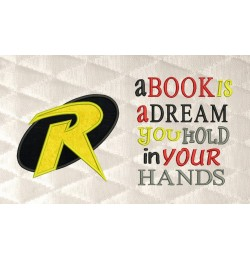 robin logo applique with a book is a dream
