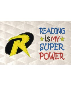 robin logo applique with reading is my superpower