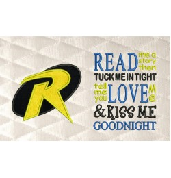 robin logo applique with read me a story