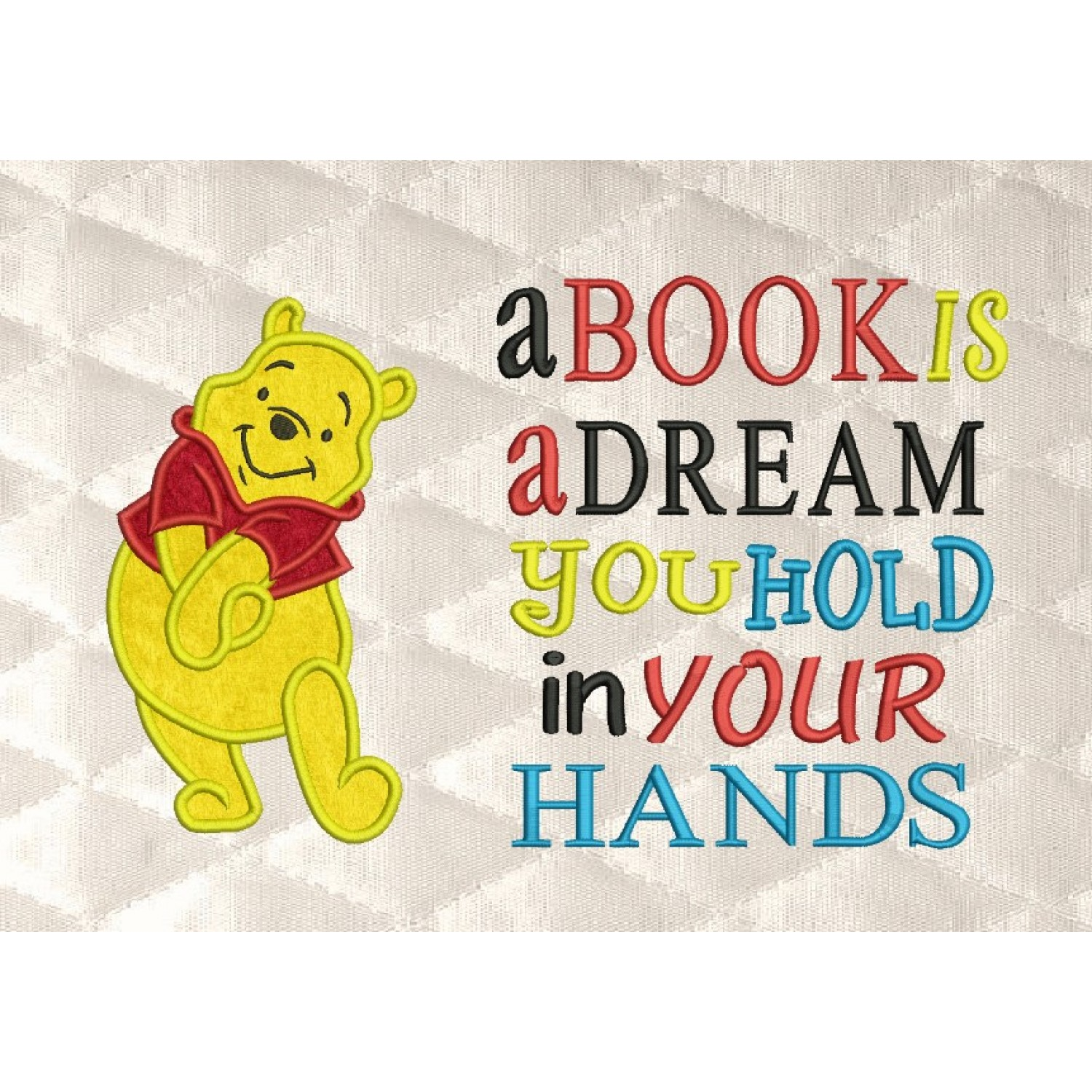 pooh applique with a book is a dream