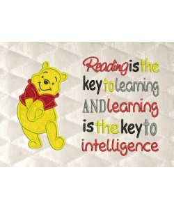pooh applique with reading is the key