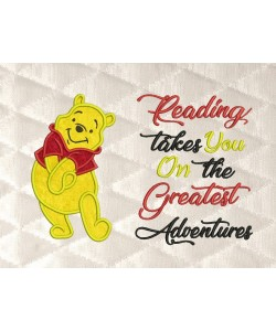pooh applique with reading takes you