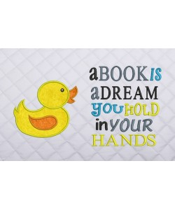 baby duck applique with a book is a dream
