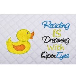 baby duck applique with readng is dreaming