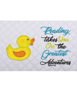 baby duck applique with readng takes you