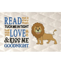 lion embroidery with read me a story