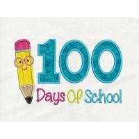 100 Days of School Pencil applique