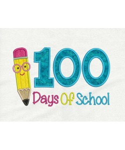 100 Days of School Pencil applique