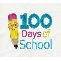 100 Days of School Pencil applique design embroidery