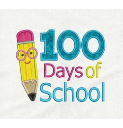 100 Days of School Pencil applique design embroidery