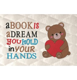 Bear Valentines Day with a book is a dream