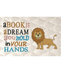 lion embroidery with a book is a dream
