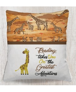 Giraffe embroidery with reading takes you