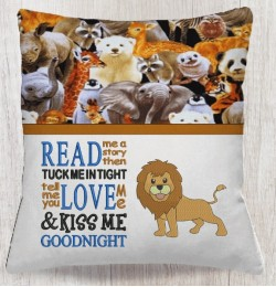 lion embroidery with read me a story embroidery designs