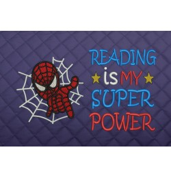 spiderman face embroidery Reading is My Super power