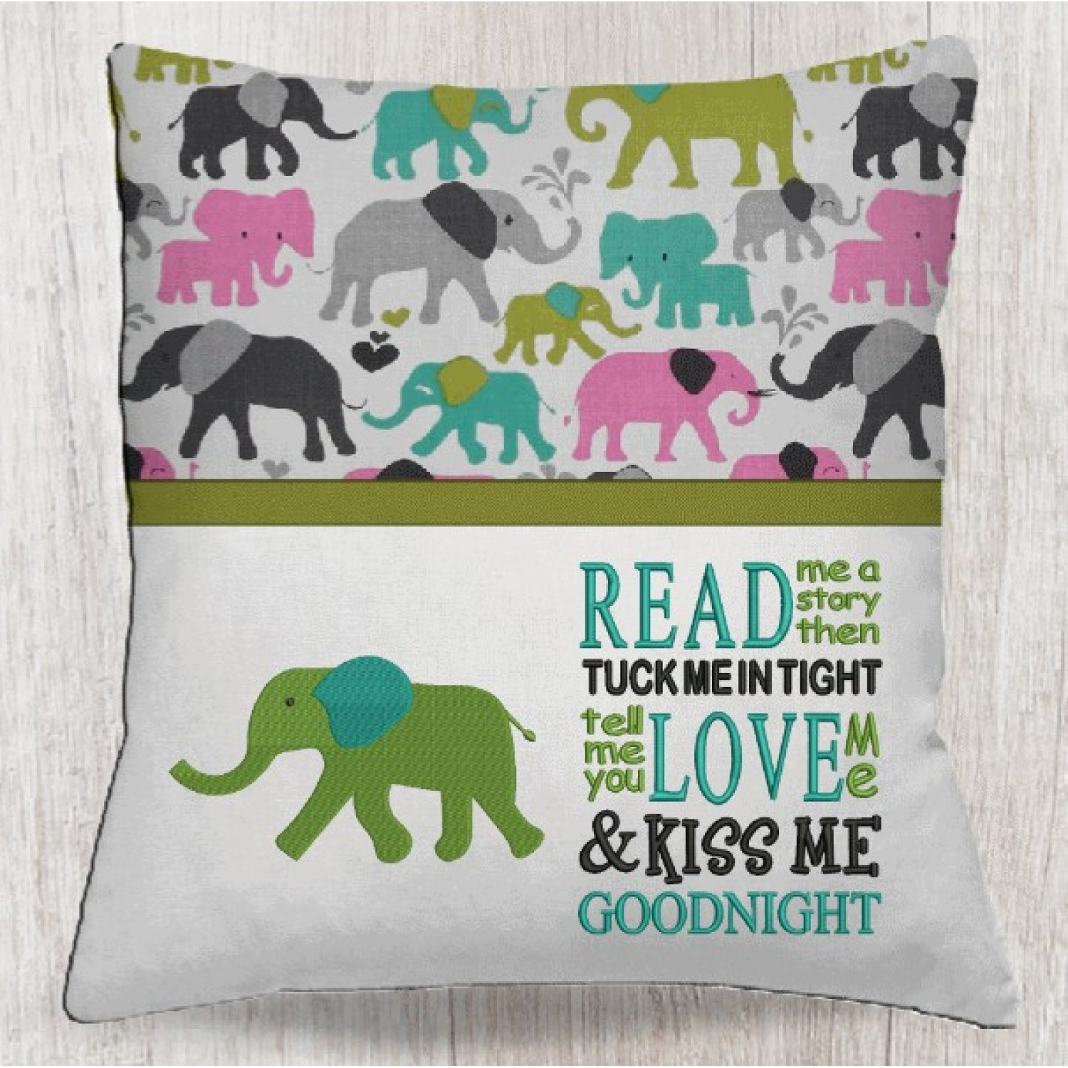 Elephant embroidery with read me a story
