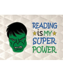 Hulk face with reading is my super power