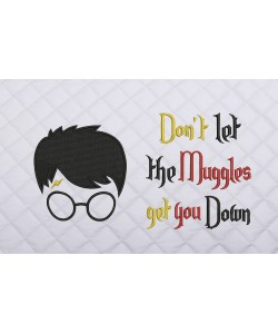 Harry potter face embroidery with don't let