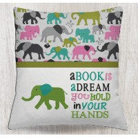 Elephant embroidery with a book is a dream
