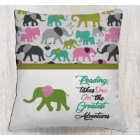 Elephant embroidery with reading takes you