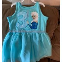 Elsa Frozen Birthday with number 3 applique