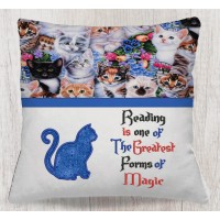 Cat Applique with Reading is one Reading Pillow