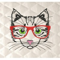 Cat with glasses embroidery