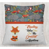Fox with reading takes you embroidery