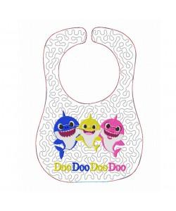 Baby bibs baby shark ITH in the hoop