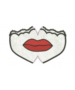 Face mask riga lips For kids and adult in the hoop