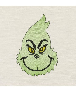 Grinch face design embroidery