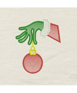 Grinch Hand ornament embroidery design